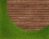 Spring green grass over wood background — Stock Photo