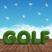 Ahşap tahta üzerinde golf yeşil çimen — Stok fotoğraf
