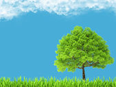 Green environment and tree on blue sky — Stock Photo