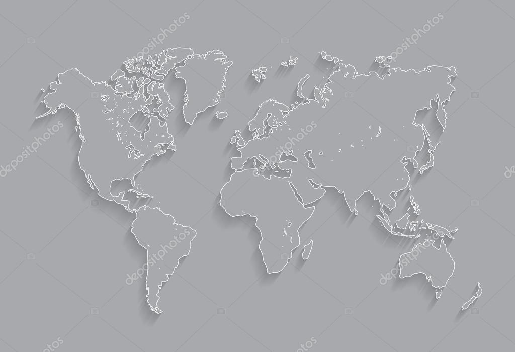 边疆世界地图矢量图.在灰色的背景