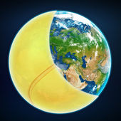 Tennis ball cover the planet earth. sports world — Stock Photo