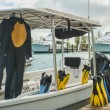 Scuba Gear and Boat at the Dock — Stock Photo