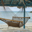 Hammock, Hut, & Beach — Stock Photo
