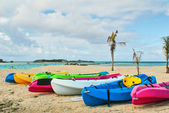 Kayaks on Tropical Beach — Stock Photo