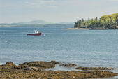 Red Fishing Boat at Bar Harbor Maine — Stock Photo