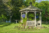 Gazebo with Spring Flowers — Stock Photo
