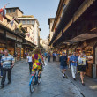 Bicyclist on Ponte Vecchio — Stockfoto #13400359