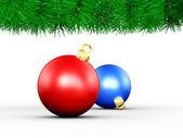 Christmas Border and Xmas Balls — Foto de Stock