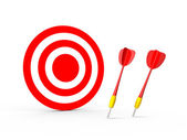 Failure of Red Dart Arrows with Target — Stock Photo