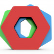 Stock Photo: Lined Up Hexagon Shapes