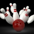 Bowling Ball Crast into Pins — Stock Photo