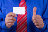 Businessman Showing Business Card and Approval Sign — Stock Photo