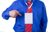 Businessman Showing His Name Tag — Stock Photo
