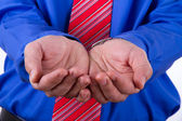 Businessman Shows His Hands — Stock Photo