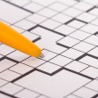 Stock Photo: Blank Crossword Puzzle with Pen