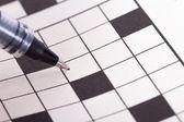 Blank Crossword Puzzle with Black Pen — Stock Photo