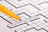 Blank Crossword Puzzle with Pen and Profit Text — 图库照片