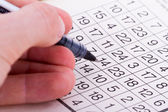 Puzzle with Numbers and Pen — Stock Photo