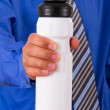 Businessman Showing Sport Water Bottle — Stock Photo
