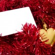Blank Card and Christmas Ornaments — Stock Photo