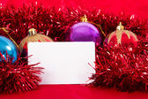 Blank Card and Christmas Ornaments — Stok fotoğraf