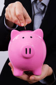 Business Woman and Piggy Bank — Stock Photo