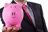 Businessman and Piggy Bank — Stock Photo