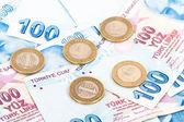 土耳其里拉纸币和硬币 — 图库照片