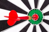 Red Arrow in the Middle of Dart Board — Stock Photo