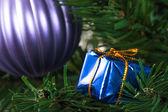 Christmas Tree with Gift Box — Stock Photo