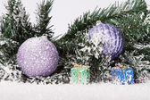 Snowy Christmas Ornaments — Stock Photo