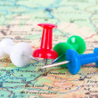 Pushpin Pointing on Map — Stock Photo #45154231