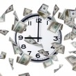 Wall Clock and Dollar Banknotes — Stock Photo