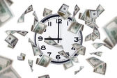 Wall Clock and Dollar Banknotes — Photo