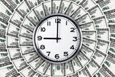 Wall Clock on Dollar Banknotes — Stock Photo