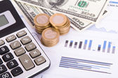 Financial Charts and Graphs on Business Table — Stock Photo