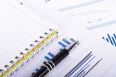 Financiële diagrammen en grafieken op zakelijke tafel — Stockfoto