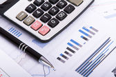 Financial Charts and Graphs on Business Table — Stockfoto