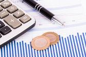 Financial Data Bar Chart Graphs and Analysis — Zdjęcie stockowe