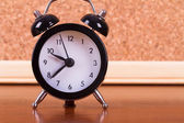 Alarm Clock on Wooden Ground — Foto Stock
