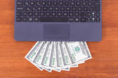 Laptop Detail and Banknotes — Stock Photo