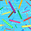 3d text background with pencils — Vector de stock