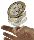 1 euro coin flying — Stock Photo