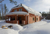 Casa de madeira no inverno — Foto Stock