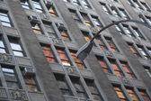 Lantern, city, house windows, — Stock Photo