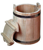 Wooden barrel, producing pottery, — Stock Photo