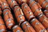 Tonneau en bois, production de poterie, — Photo