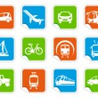 Transport icons on stickers — Stock Vector