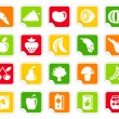 Vegetables and fruit icons on stickers - Stock Vector
