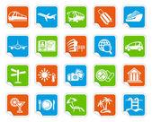 ícones de viagens em adesivos — Vetor de Stock
